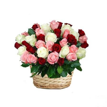 Mixed Roses in Basket