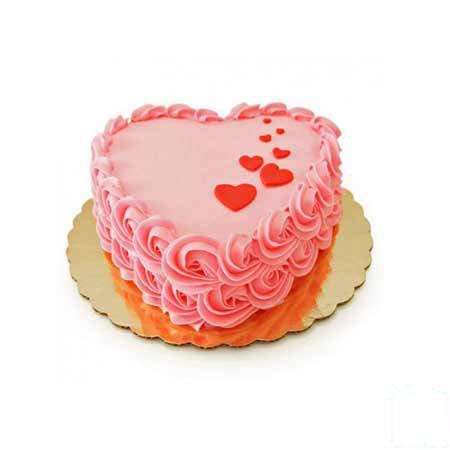 Eggless Rose Heart Cake