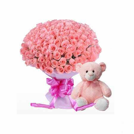 30 Pink Roses with Teddy