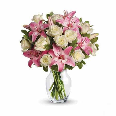 Lilly & White Roses In Vase