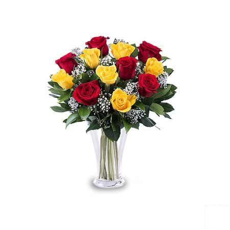 Red & Yellow Rose in Vase
