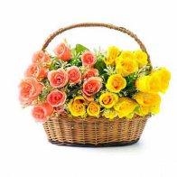 Pink & Yellow Rose Basket