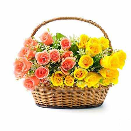 Pink & Yellow Rose Basket
