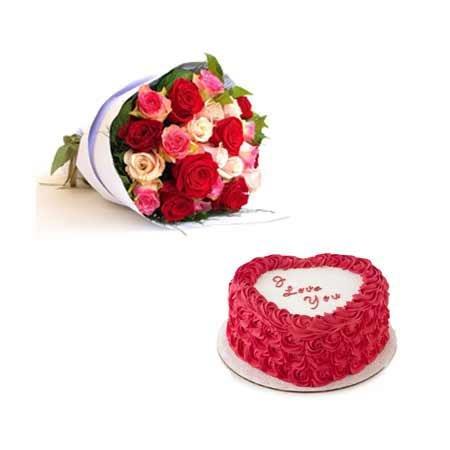 Heart Cake & Mixed Roses