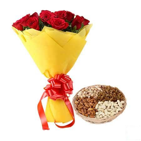 Red Roses Bouquet N Dry Fruits