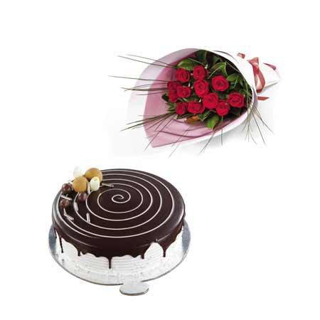 Red Roses & Choco-Vanilla Cake