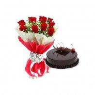Red Roses & Choco-Truffle Cake