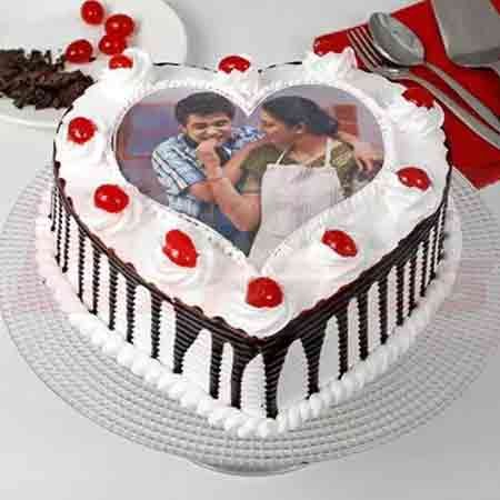Photo in Heart Cake