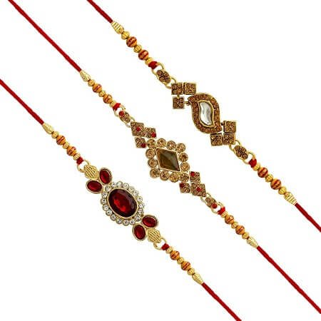 Kundan 3 Rakhi Set