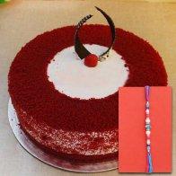 Kundan Rakhi N Red Delight