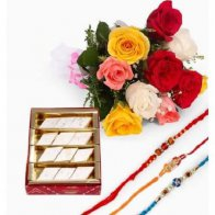 Rakhi with Sweet Bouquet