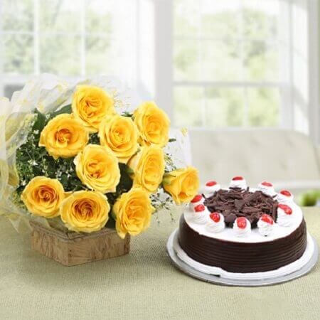 Yellow Roses & Black Forest