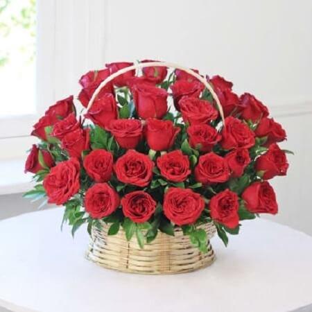 Big Red Rose Basket