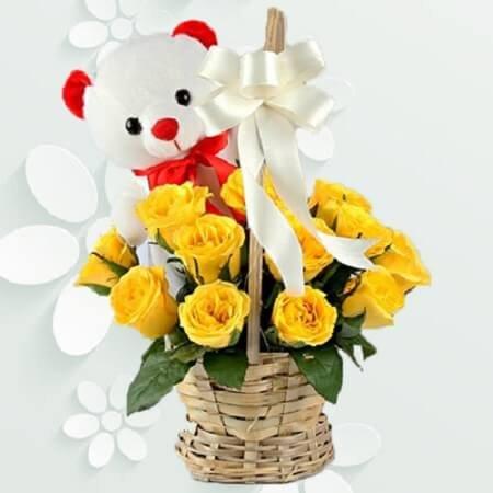 Teddy Yellow Basket