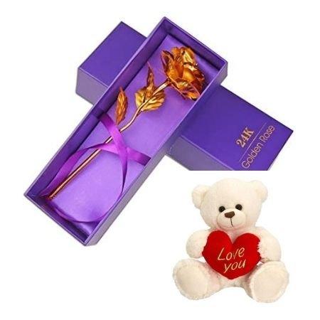 24KT Gold Rose Teddy